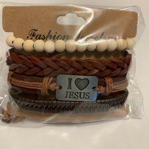 I Love Jesus Brown Leather Bracelet Multi-layer